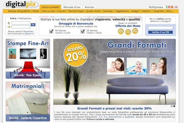 Screenshot del sito Web Digitalpix