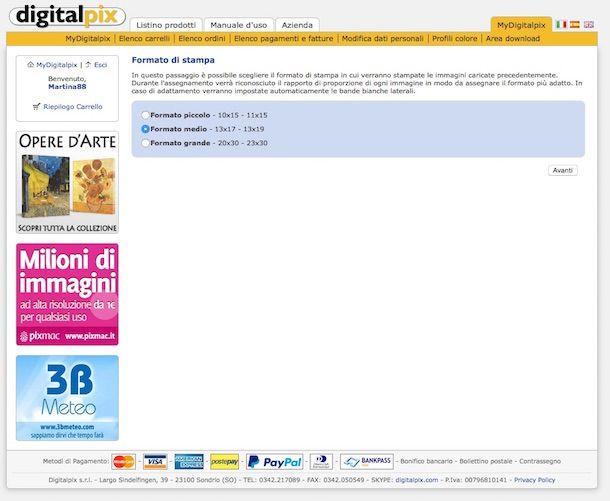 Screenshot del sito Web Digitalpix