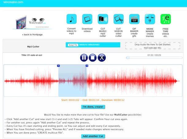 Come tagliare musica online