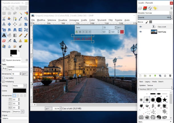 Screenshot di GIMP su WIndows