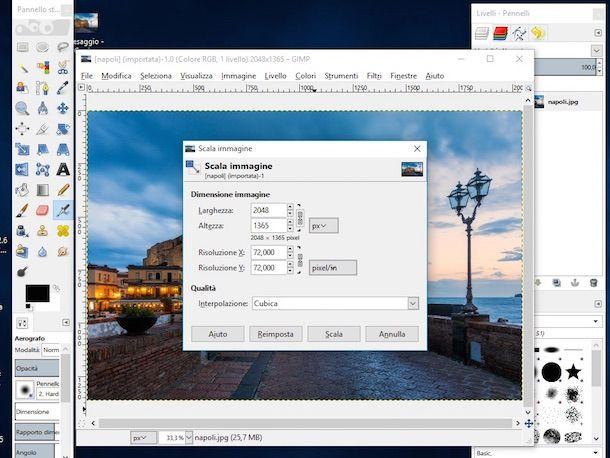 Screenshot di GIMP su WIndows