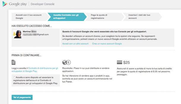 Screenshot che mostra come attivare un account sviluppatore Google