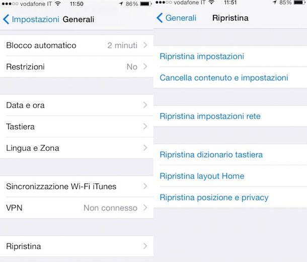 Screenshot che mostra la sezione Impostazioni di iPhone