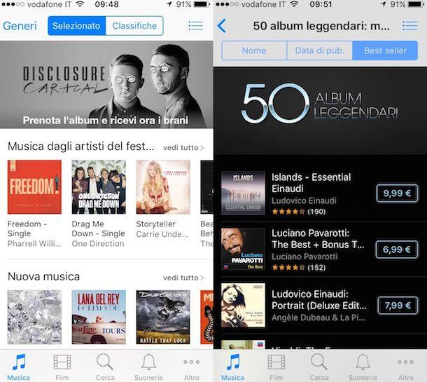 Screenshot che mostra come funziona iTunes