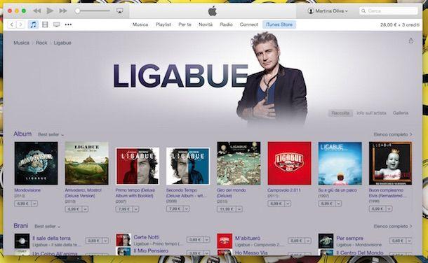 Screenshot che mostra come scaricare musica da iTunes