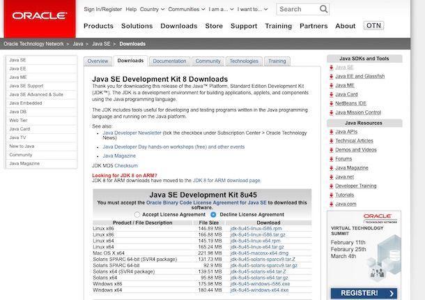 Screenshot che mostra il sito Internet di Java