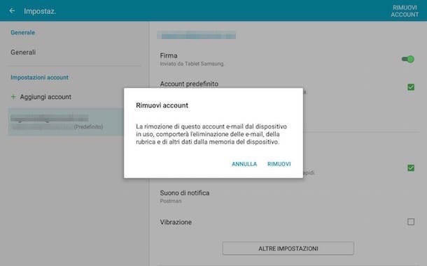 Screenshot che mostra come configurare Hotmail su Android