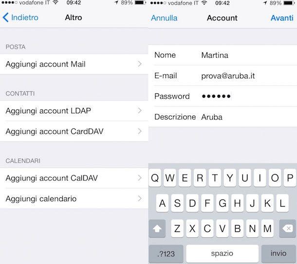 Immagine che mostra come configurare mail Aruba su iPhone
