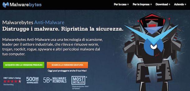 Screenshot che mostra come scaricare Malwarebytes