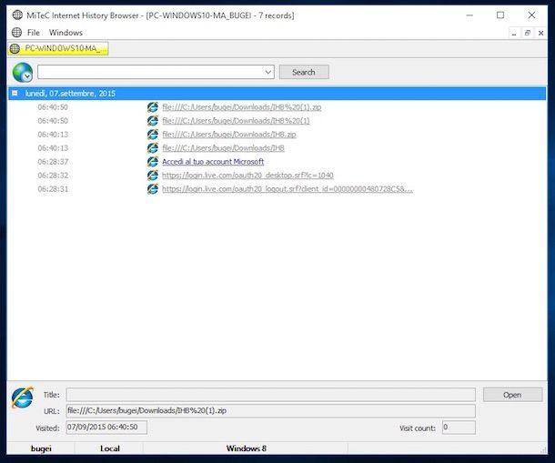 Immagine che mostra la finestra di MiTec Internet History