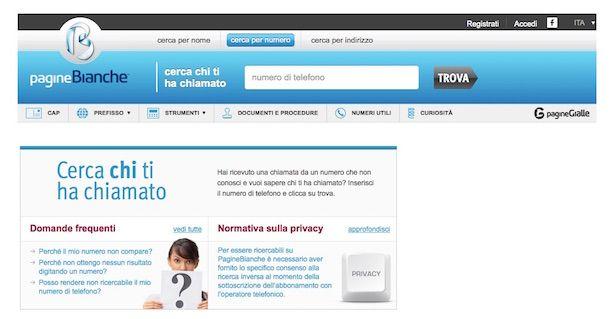 Screenshot del sito Web Pagine Bianche