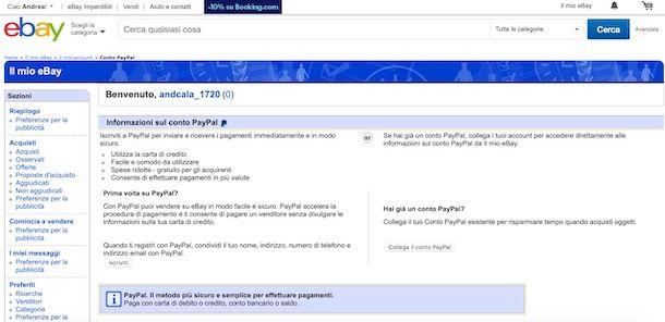 Come creare conto PayPal su eBay