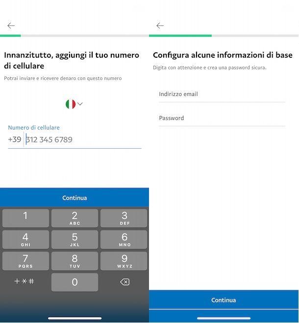 Creare un conto PayPal personale da smartphone e tablet