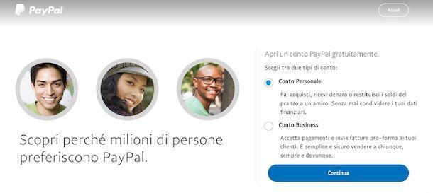 Come creare conto PayPal