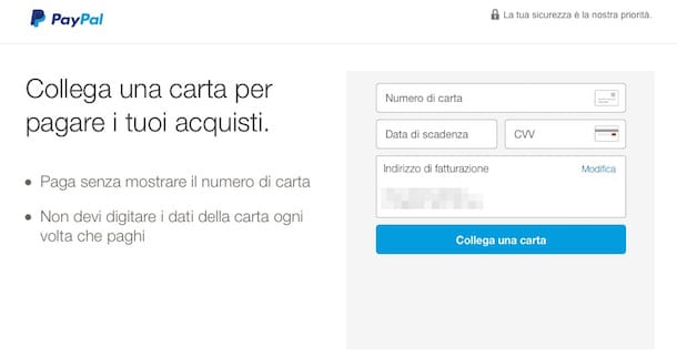 Screenshot del sito Internet di PayPal