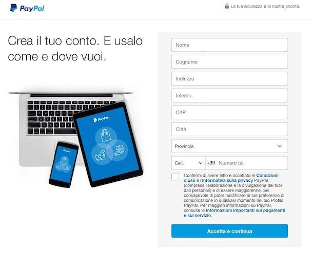 Screenshot del sito Internet di PayPal