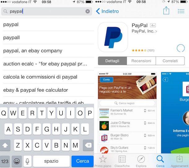 Screenshot che mostra come ricevere soldi su PayPal