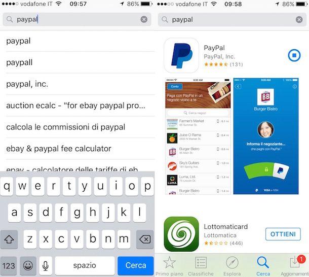 Screenshot di PayPal da iPhone