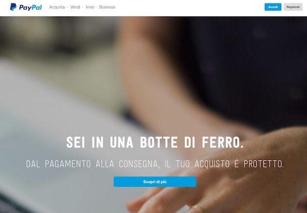 Screenshot della pagina Web principale di Paypal