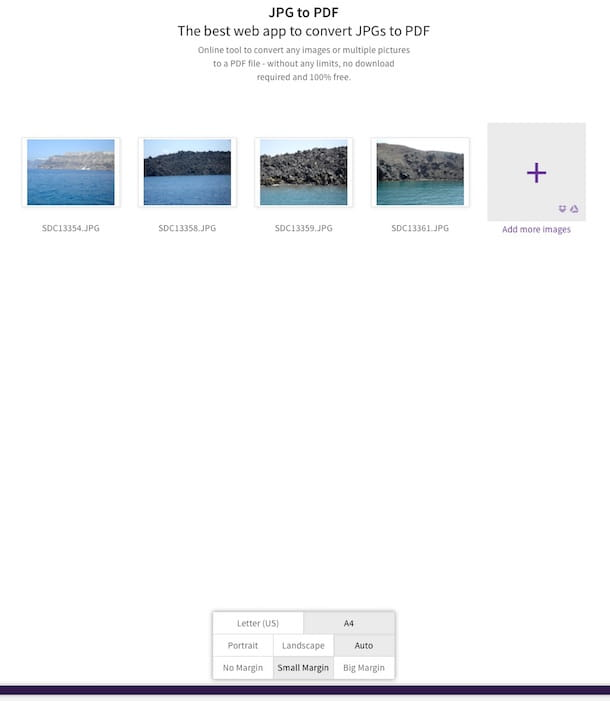 Screenshot che mostra come creare pDF da immagini con SmallPDF
