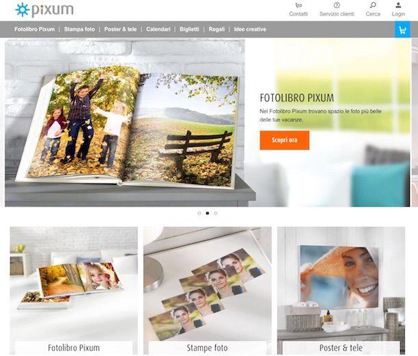 Screenshot del sito Web Pixum