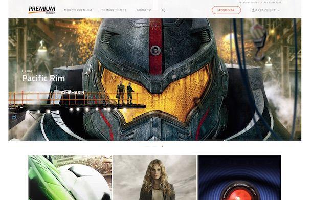 Screenshot della pagina iniziale di Mediaset Premium