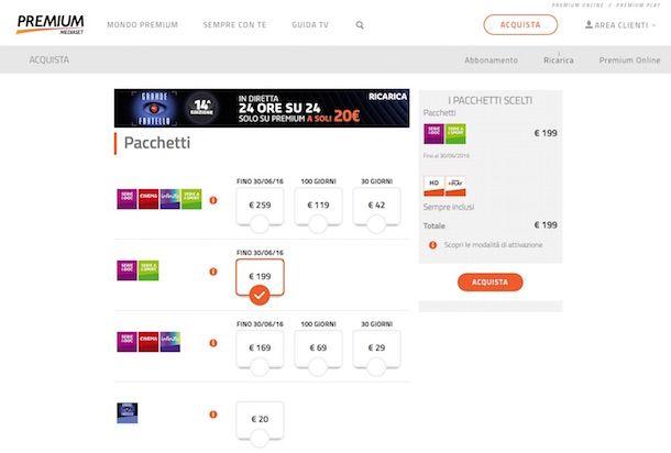 Screenshot di Mediaset Premium