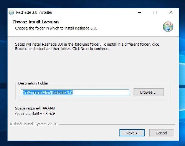 Screenshot del software Reshade