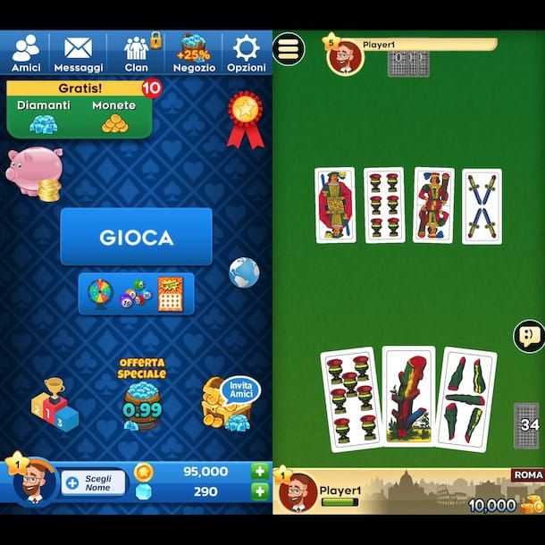 Scopa multiplayer Android