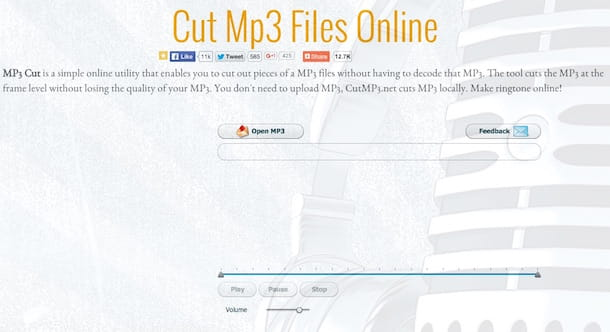 Screenshot che mostra come tagliare musica online