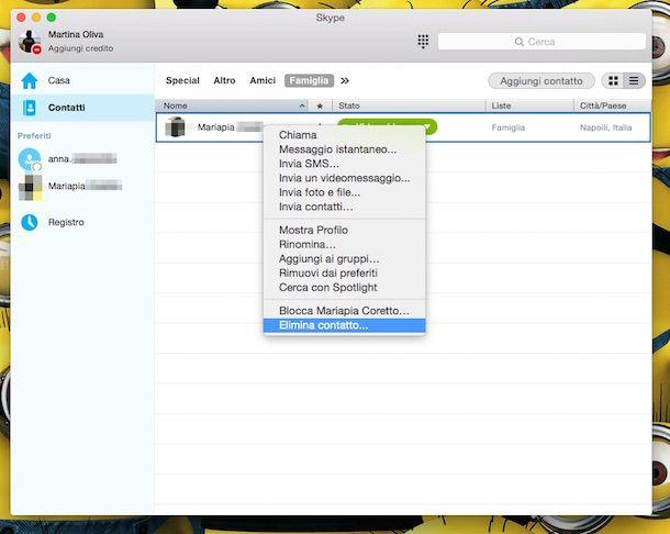 Screenshot che mostra come eliminare contatto Skype