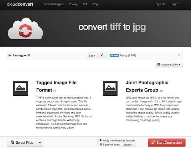 Come convertire TIFF in JPG