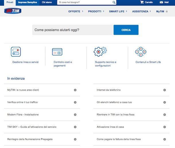 Screenshot della sezione Assistenza del sito Internet di TIM