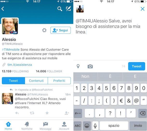 Screenshot che mostra come contattare TIM su Twitter