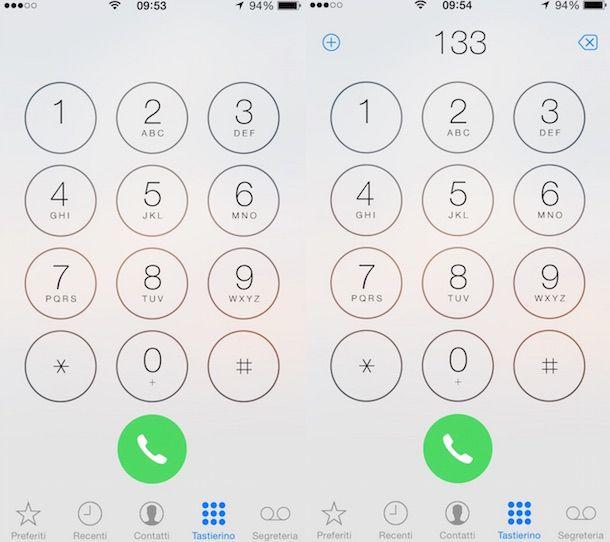 Screenshot che mostra come contattare il 133 di 3 Italia