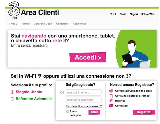 Screenshot che mostra come accedere all'Area Clienti di 3 italia