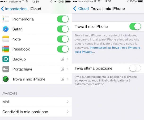 Screenshot che mostra la sezione Trova il mio iPhone di iOS