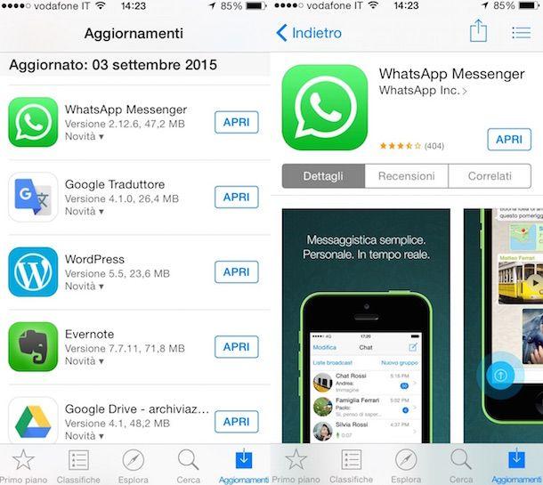 Immagine che mostra come aggiornare WhatsApp su iOS