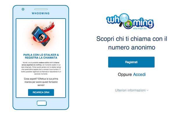 Sceenshot del servizio web Whooming