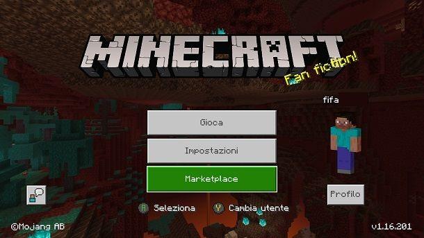 Menu iniziale Minecraft console