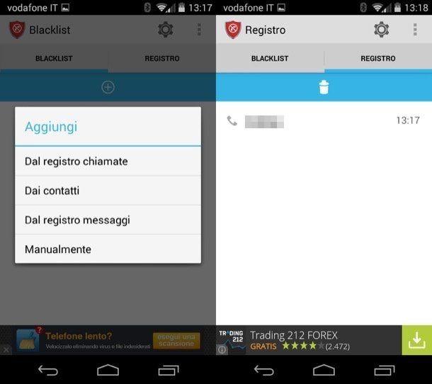 Screenshot che mostra come bloccare un numero di telefono su Android con Calls Blacklist