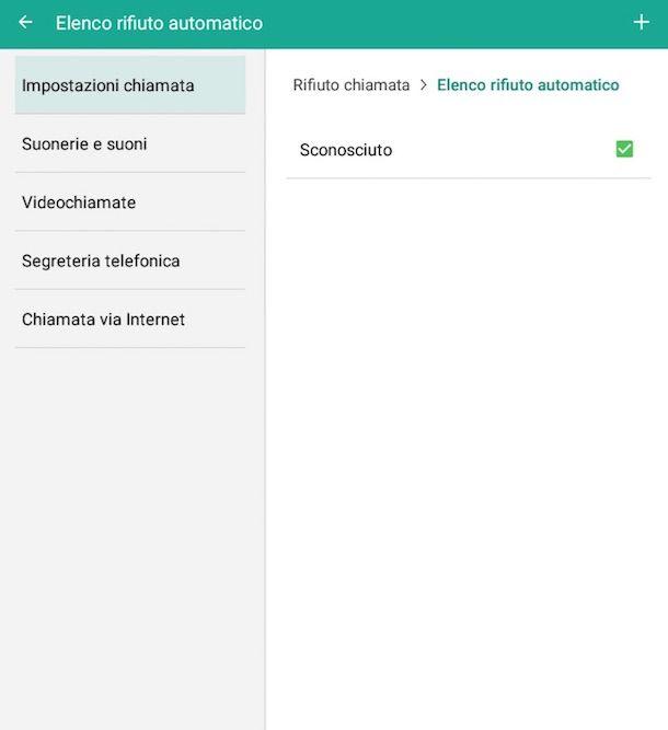 Screenshot delle impostazioni di Android