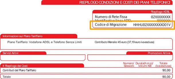 Immagine della fattura Vodafone con codice di migrazione