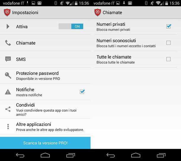Screenshot dell'app Calls Blacklist su Android