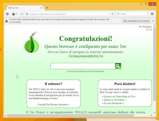 Screenshot di Tor Browser