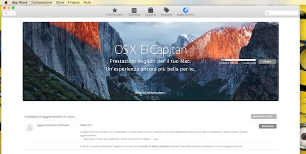 Screenshot che mostra il download di OS X El Capitan da Mac App Store