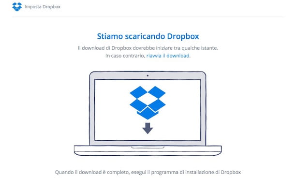 Screenshot di Dropbox da browser Web
