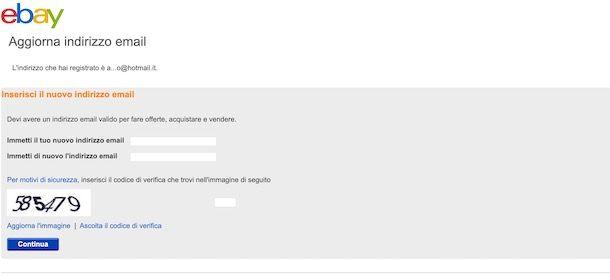 Come cambiare email su eBay