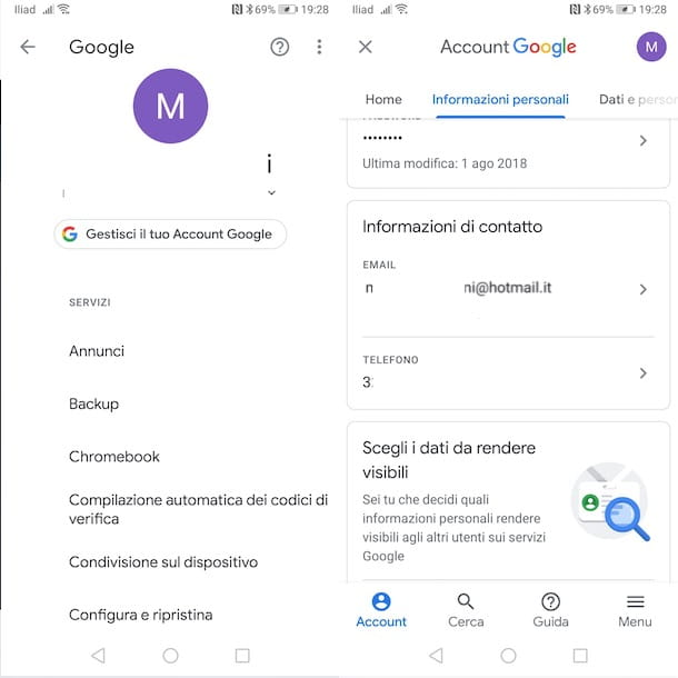 Cambiare email Google su Android