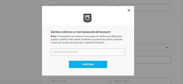 Come cambiare email su Fortnite